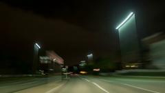 4K Night drive on asphalt road wide angle Stock Footage