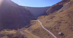 Dam of Moiry, frontal ascending - Aerial 4K Stock Footage