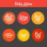 Vector set of vintage colorful Autumn labels for greetings and promotion. Stock Illustration