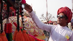 Romanic beautiful couple enjoying shopping at a mela festival carnival in India Stock Footage