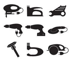 Tools mechanic icons set, black silhouette. Element logo , isolated on a wh.. Stock Illustration