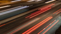Time lapse speed traffic light trails close up Stock Footage