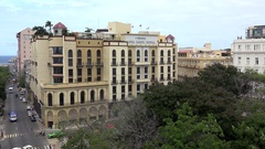 View of the central Havana city with the Parque Central Hotel. Cuba Stock Footage