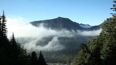 Cloud layer on Mount Rainier Stock Footage
