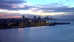 Old Havana (La Habana Vieja) from the Morro Castle (fortress) by night. Stock Footage