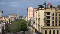 Top view of the central Havana city with the Paseo del Prado, Timelapse. Cuba Stock Footage