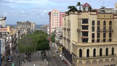 Top view of the central Havana city with the Paseo del Prado. Cuba Stock Footage