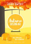 Fall Festival template. Bright colourful autumn landscape on vertical backg.. Stock Illustration