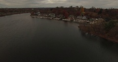 Aerial footage over Boathouse row in Philadelphia Stock Footage