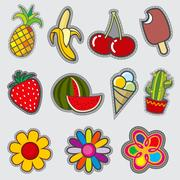 Retro badge patches, fun vector trendy stickers Stock Illustration