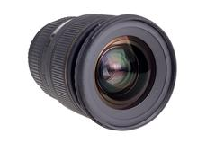 Lens of modern digital camera, view of front lens Stock Photos