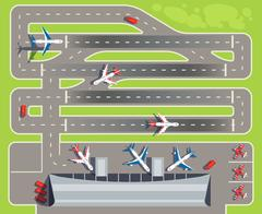 Airport with passenger terminal, airplanes, helicopters top view vector Piirros
