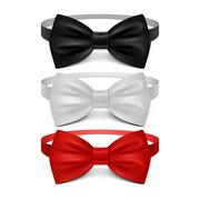 Realistic white, black and red bow tie vector set Stock Illustration