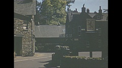 Vintage 16mm film, 1952, Scotland village b-roll, Red Lion Hotel Stock Footage