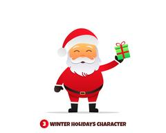 Santa Claus with gift. Merry Christmas and Happy New Year. Stock Illustration
