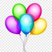 Vector colorful balloons, birthday decoration isolated on transparent background Stock Illustration