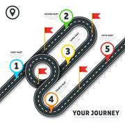 Journey road map business vector cartography infographic template with pins and Stock Illustration