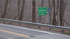 Welcome to Ohio Road Sign in Autumn Stock Footage