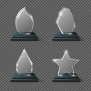 Realistic crystal trophy, glass awards vector set Stock Illustration