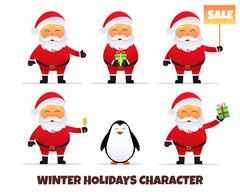 Santa Claus collection. Merry Christmas and Happy New Year. Stock Illustration