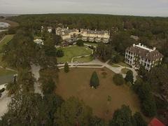 Jekyll Island Club Hotel Aerial Stock Footage