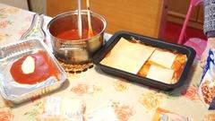 Woman preparing Italian lasagna. Stock Footage