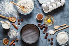 Dough preparation recipe bread, pizza, pasta or pie ingridients, food flat lay Stock Photos
