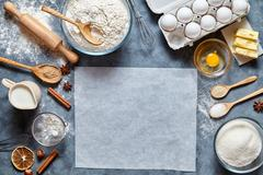Dough preparation recipe bread, pizza or pie ingridients, food flat lay on Stock Photos