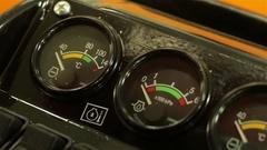 Speedometers on front panel of traktor Stock Footage