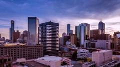 Melbourne timelapse CBD City Skyline Sunset from Unilodge 4K Stock Footage