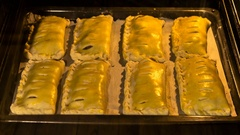 Cooking homemade meat pie in oven, time lapse Stock Footage