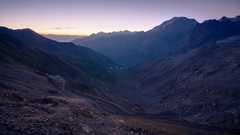 Timelapse of Sunrise in Stelvio Pass in the Alps Stock Footage