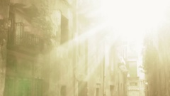 Dreamy Sun dust Street catching golden sun light in the old city Stock Footage