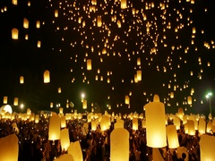 Sky Lanterns at Yi Peng Buddhist Religious Festival in Chiangmai, Thailand Stock Footage