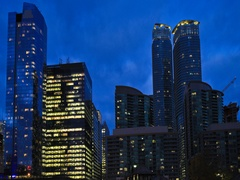 4K UltraHD Timelapse Toronto's downtown core after dark Stock Footage