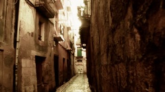 Golden Sun rays in an old Roman alley Stock Footage