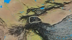 Zoom into Pamirs mountain range - glowed. Topographic map Stock Footage
