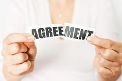 Cancel an agreement or dismiss a contract concept Stock Photos