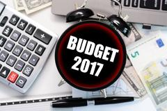 2017 budget exercise or forecast with old clock concept Stock Photos