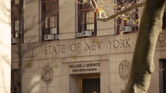 State Of New York Stone Sign Stock Footage