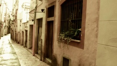 Old Spanish City Streets, Foating through the alley in Slow motion Stock Footage