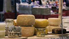 Cheese shop at the Christmas market Stock Footage