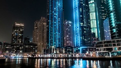 Dubai skyscrappers.Down up shot. Time lapse. Stock Footage