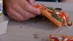 Girl Eating Pizza, Close Up, Tomato and Pesto Stock Footage