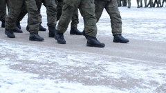 Russian army. Soldiers in formation on the parade ground Stock Footage