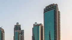Dubai center,Time lapse. Transtion day into night. Stock Footage