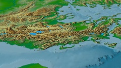 Revolution around Pindus mountain range - masks. Colored physical map Stock Footage