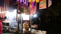 New York City Sidewalk Crowds Hot Dog Street Food Vendor Urban Foot Traffic Stock Footage