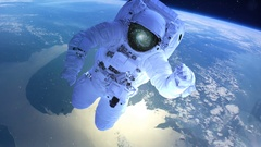 Astronaut above the earth in open space Stock Footage