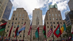 Rockefeller Center Plaza New York City International Flags Iconic Stock Video Stock Footage